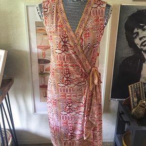 BCBG Safiya Orange Sleeveless Wrap Dress | S
